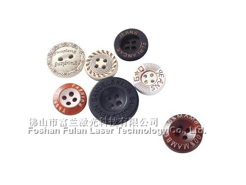 Clothing buttons laser lettering